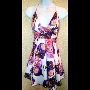 Revamped purple and pink floral dress